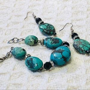 Jewelry - BRACELET & EARRINGS SET Turquoise & Rhinestone